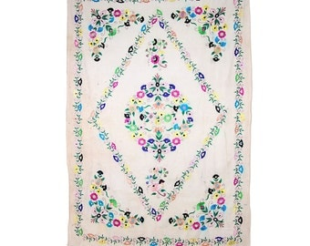 VINTAGE TEXTILE - Fine Vintage Floral Door Hanging on Cream Cotton.