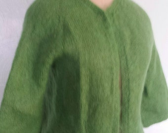 Vintage green fuzzy mohair sweater  cardigan