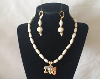 Unique Oval Fossil Egyptian Pendant Necklace Set