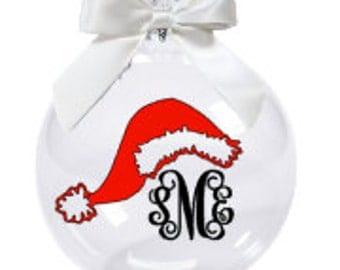 Christmas Ornament with Monogram/Santa Hat Ornament/Personalized Christmas Ornament/Monogrammed Ornament