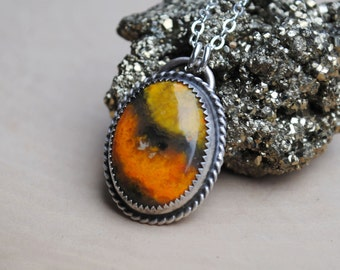 Bumble Bee Jasper Necklace - Sterling Silver Bumble Bee Jasper Jewelry