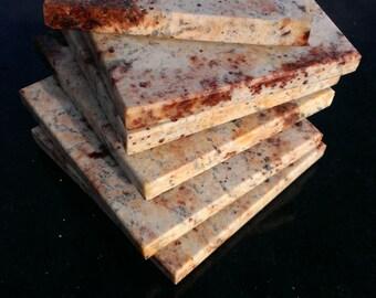 "Stone Coasters Set Of Six From Natural Stone Granite ""Shivakashi Pink"""