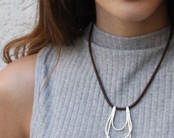 Geometric Necklace, Geometric pendant necklace Silver and leather