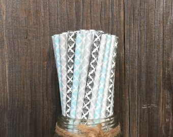 75 Light Blue, Silver and Black Damask Paper Straws- Wedding, Bridal Shower, Party Supply