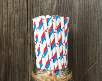 100 Red, White and Blue Striped and Banner Paper Straws - Patriotic, 4th of July, Picnic Supply