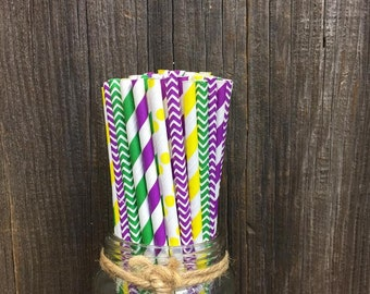 150 Mardi Gras Themed Striped, Chevron and Polka Dot Paper Straws- Purple, Yellow and Green Paper Straws- Free Shipping!