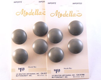 8 - 17 mm Grey Buttons - Plastic Grey Shank Buttons - Grey Dome Shape Shank Buttons - Vintage Buttons - Button Card #GRS-30-03