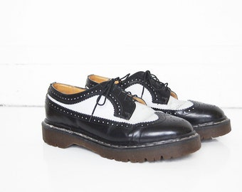 90s Doc Martens Wingtips - Black and White Brogue Oxfords - Made in England - UK Size 10 - US Men's 10.5, 11