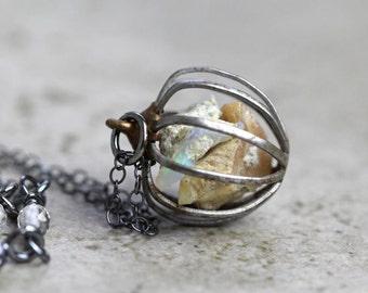 Opal Necklace Raw Gemstone Ethiopian Opal Cage Pendant Libra Birthstone Raw Opal Oxidized Sterling Silver Vintage Gemstone