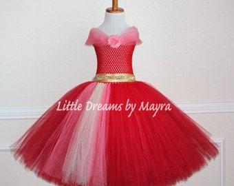 Red tutu dress, Latina princess inspired birthday dress size nb to 14years