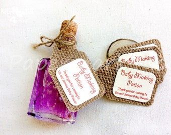 25 Burlap Baby Making Potion_ Burlap Gift Tag_ Customizable Tag_Burlap Hangtag_ Your Text by Request