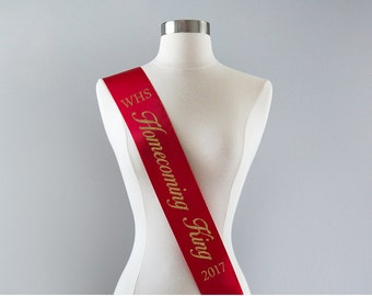 Homecoming King Sash Custom Homecoming Sash Personalized Homecoming King Sash