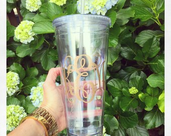 Personalized 32oz double walled clear acrylic tumbler