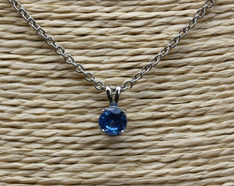 Genuine London Blue Topaz Pendant Necklace - in 4mm, 5mm and 6mm - Available in white gold and titanium