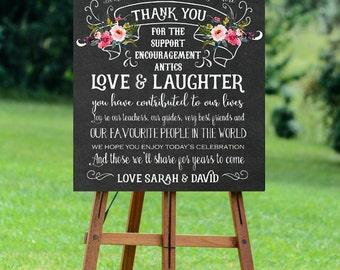 chalkboard wedding sign, custom wedding sign, thank you wedding sign, digital wedding sign, custom thank you sign, 8x10, 16x20, 24x30