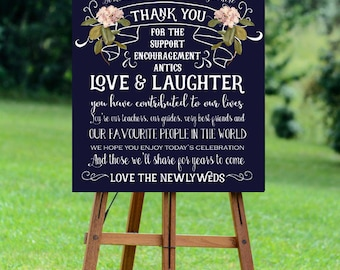 thank you wedding sign,  navy thank you sign, thank you sign, navy wedding sign, printable wedding sign, digital wedding sign, 16 x 20