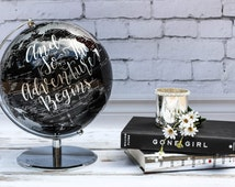 And So, The Adventure Begins - Extra Large, Black and Silver, World Globe, Wedding Guestbook, Painted Globe, Calligraphy, Travel, Custom