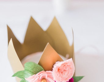 Flower Crown, Birthday Crown, Princess Birthday, Paper Flower Crown, Baby Girl Crown, Girl Birthday, Floral Halo, First Birthday,  Party Hat