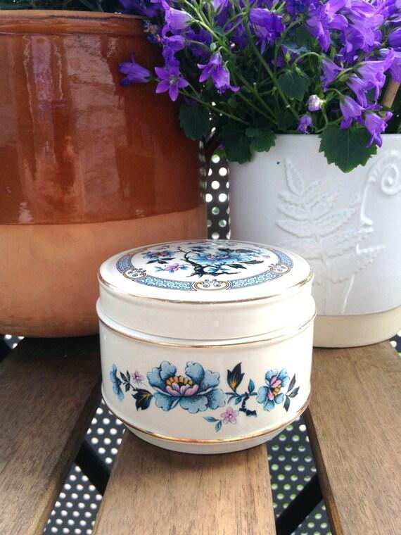 Vintage Blue and Pink Floral Sadler Trinket Box with Gold Trim