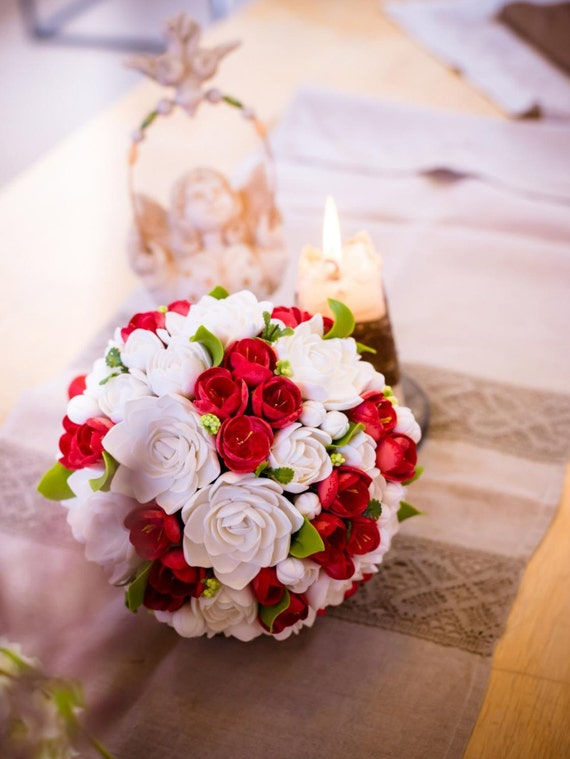 Clay wedding bouquet and boutonniere set, Bridal bouquet, White tuberoses and Red freesias , Natural look bouquet