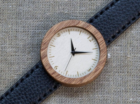 African Sapele minimal wood watch , Majestic Watch for him,  Black  Genuine Leather strap + Any Engraving / Gift Box. Anniversary  gift