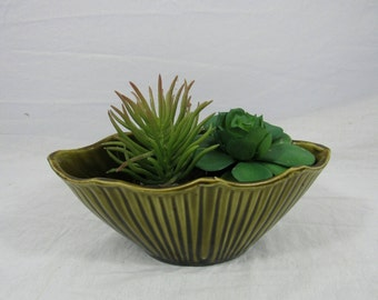 Vintage Planter Asian Lucky Bamboo Air Plant Pottery Succulent Cactus Planter Made In USA Green Planter