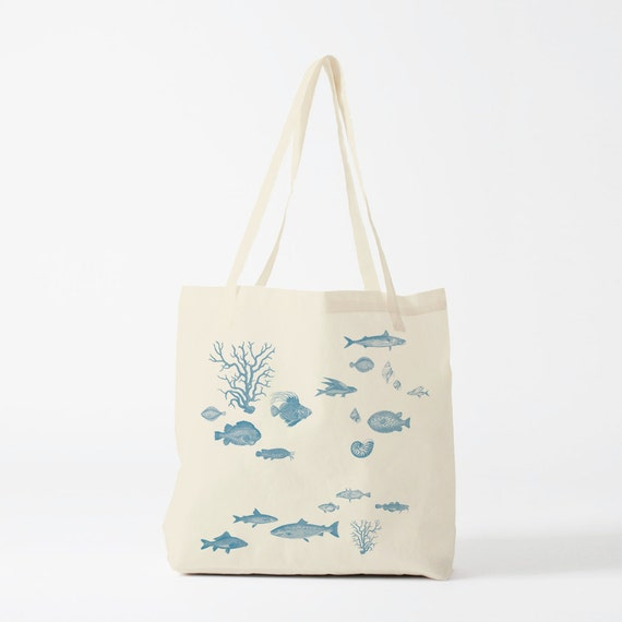 Sea Tote Bag, Fishes, shells and corals, Gift for woman.