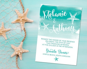 "Beach Wedding Invitation Starfish Invitation - Watercolor Wedding Invitation ""Sea Star Wash"" Wedding Printable Invitation YOU or WE Print"
