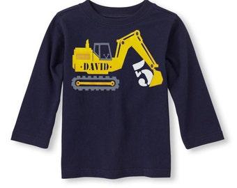 Construction birthday shirt, Digger birthday shirt, Excavator birthday shirt, Construction invites, Construction party, Boys birthday shirt