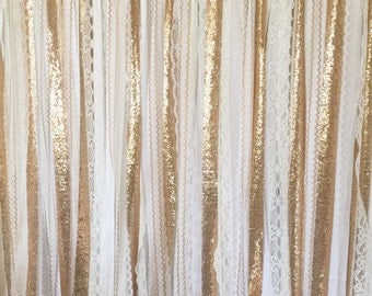Gold Sequin Garland Fabric Backdrop - Wedding Garland, Photo Prop, Curtain, Baby Shower, Party Decor