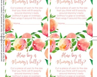 How big is mommy's belly game, measure the belly game, baby shower game, Sweet Peach baby shower, baby shower printables, shower package