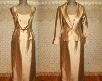 Vintage Formal Dress Gold Satin Evening Dress Mother of the Bride Dress Small Size 4 Dress Davids Bridal Womens Dresses Vintage Clothing