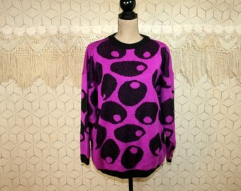 Vintage Sweaters 80s Oversized Sweater Slouchy Pullover Womens Sweater Purple Black Novelty Print Medium Large Esprit 1980s Vintage Clothing