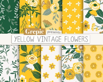 """Summer digital paper: """"YELLOW VINTAGE FLOWERS"""" hand drawn, patterns, floral background, yellow flowers, flower pattern, green, floral, rose"""