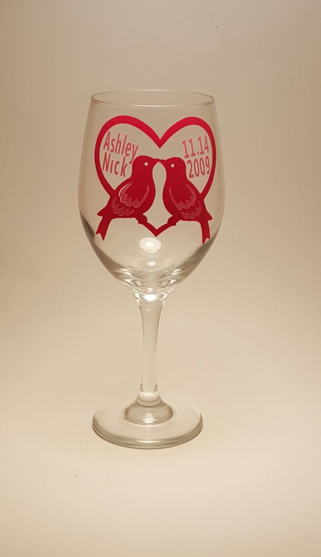 Love Birds Wine Glass Cheap Wedding Favors Glasses Personalized Custom Unique Fun