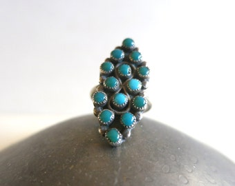 Vintage Zuni Petit Point Turquoise Infinity Ring - Native American Jewelry - Size 5- 5.5