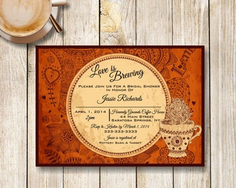Coffee Bridal Shower Invitation, Love is Brewing Bridal Shower Invite, Coffee Themed Shower, Coffee Party Invitation, Printable Invite