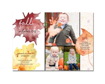 Mini Session Postcard - Photography Template - Flyer - Fall - Autumn - Kids - Minis - Photoshop - Elements - 5x7, Leaves, Watercolor