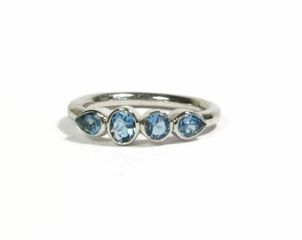 Aquamarine Sterling Silver Ring, Ready to Ship, Size 6.25