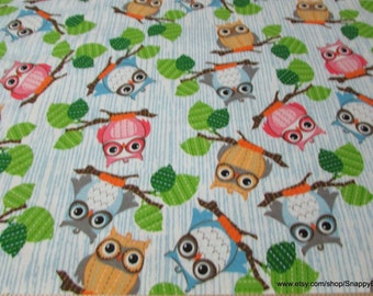 Flannel Fabric - Owls on Branches - 1 yard - 100% Cotton Flannel
