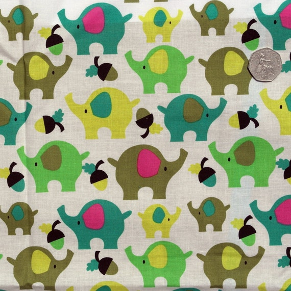 Organic quilting cotton green elephant print fabric for Animal print fabric for kids