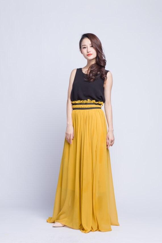 High Waist Wedding Skirt Chiffon Long Skirts Beautiful Elastic