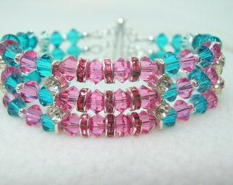 Blue Zircon & Rose Crystal 3 Strand Bracelet