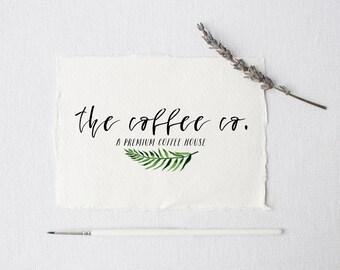 premade logo design · small palm leaf · watermark logo · watercolor greenery · photography logo · small business branding ·  logo design