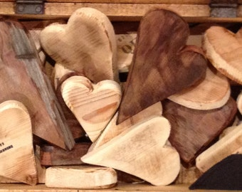 natural wood hearts