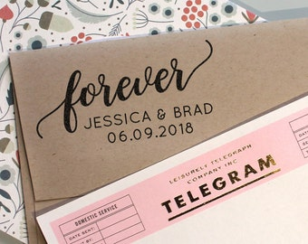 Custom Save the Date Rubber Stamp with wedding Date and the word forever, rubber stamp, self inking stamp