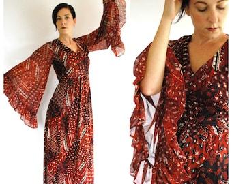 1970's Maxi Dress - Bell Angel Sleeve Hippie Boho Dress - Size S/M