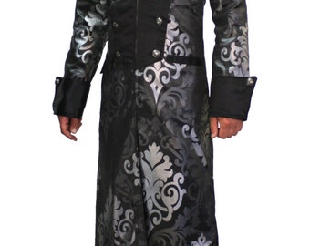 Steampunk Men's waistcoat Brocade trench coat in black and silver