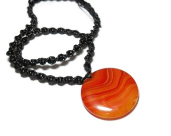 carnelian pendant necklace, carnelian agate slice, sardius necklace, sacral chakra, crystal healing, crystal energy canada, chakra necklace