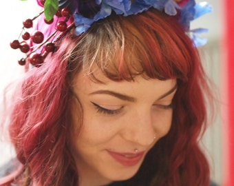 Queen of the Enchanted Woods Festival Headress w/ Purple Blooms